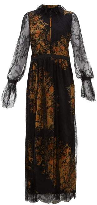 Etro Nottingham Lace And Floral Print Crepe Gown - Womens - Black Multi