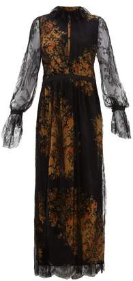 Etro Nottingham Lace And Floral-print Crepe Gown - Womens - Black Multi