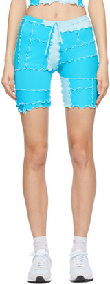 Sherris Blue Ruffle Patch Shorts
