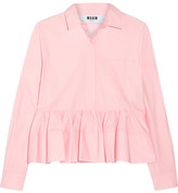 MSGM Stretch Cotton-blend Poplin Peplum Shirt - Baby pink