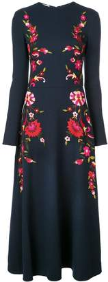 Oscar de la Renta floral embroidered long dress