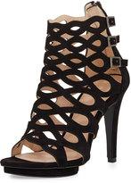 Pelle Moda Navi Suede Cutout Sandal, Black