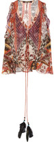 Roberto Cavalli Ruffled Printed Silk-blend Chiffon Top - Brown