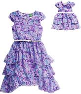Dollie & Me Purple Floral Chiffon Dress & Doll Dress - Girls