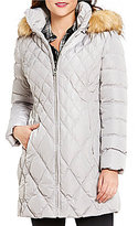 Jessica Simpson Faux-Fur Trim Hooded Diamond Quilted Puffer Coat