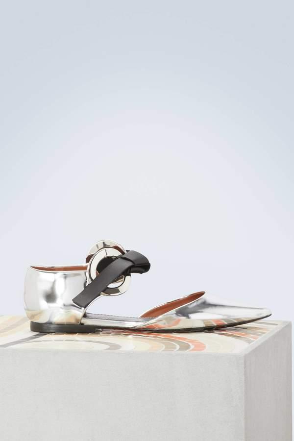 Proenza Schouler Grommet metallic ballet pumps