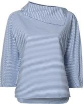 Tibi sculpted sleeve striped blouse