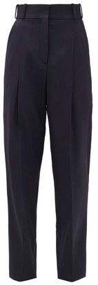 Another Tomorrow - High-rise Twill Slim Trousers - Navy