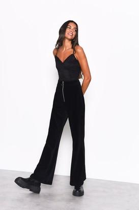 Glamorous Womens **Black Zip Detail Corduroy Flares By Black