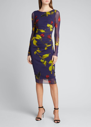 Fuzzi Falling Leaves Ruched Long-Sleeve Dress