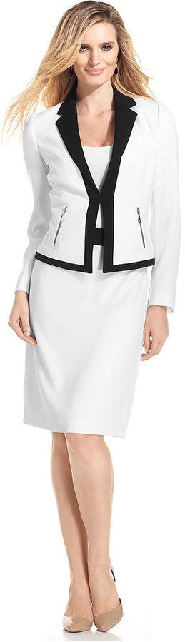 Tahari by Arthur S. Levine Suit, Colorblock-Trim Jacket & Skirt