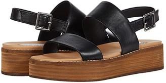 Steve Madden Teenie Wedge Sandal (Black Leather) Women's Shoes