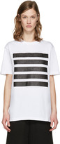 Palm Angels White Glitter Five Stripes T-Shirt
