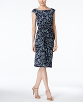 Connected Petite Printed Sarong Sheath Dress