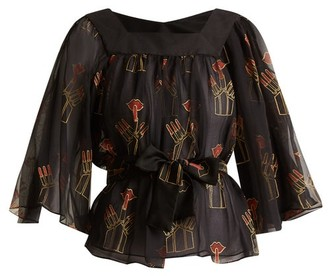 Zandra Rhodes Archive Ii The 1967 Lipstick Blouse - Womens - Black Print