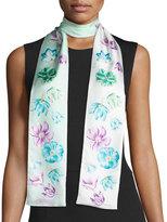 Salvatore Ferragamo Tuli Skinny Floral Silk Scarf, Mint