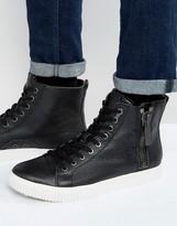 Calvin Klein John Zip Pebble Leather Sneakers