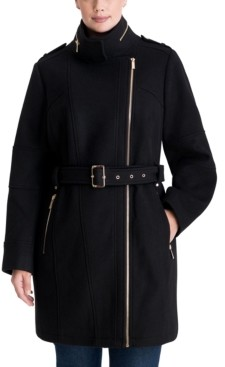 Michael Kors Michael Plus Size Asymmetrical Belted Coat, Created for Macy's