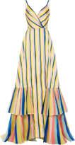 Carolina Herrera Mikado Multistripe Organza Tier Gown