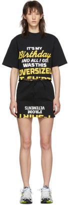 Vetements Black Happy Birthday T-Shirt Dress Set