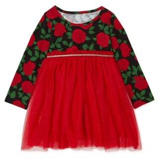Wonder Nation Baby Girls & Toddler Girls Long Sleeve Tutu Dress (12M-5T)