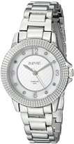 August Steiner Women's AS8154SS Silver Quartz Watch with White and Silver Mother of Pearl Dial and Silver Bracelet