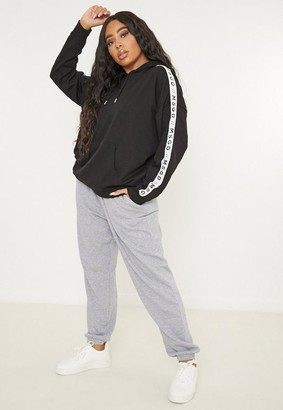 Missguided Plus Size Black Msgd Graphic Lounge Hoodie