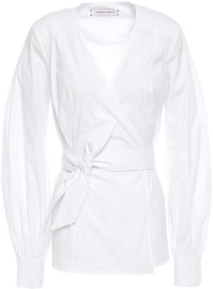 Carolina Herrera Cotton-blend Poplin Wrap Top