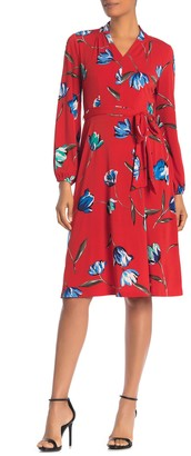 London Times Floral Waist Tie Midi Dress