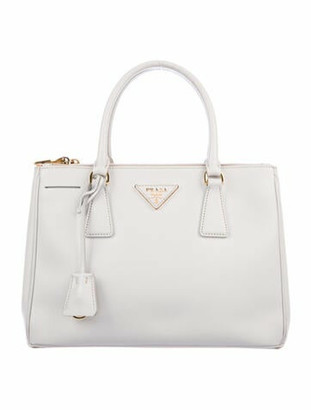 Prada Small Saffiano Lux Double Zip Galleria Tote gold