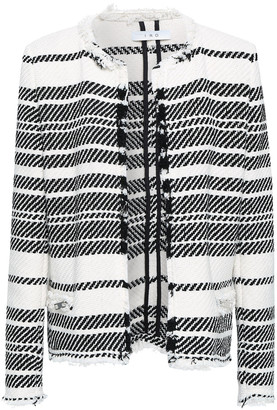 IRO Zlata Frayed Striped Cotton-blend Tweed Jacket