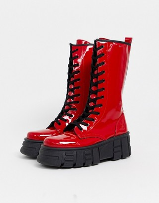 Asos Design DESIGN Athens chunky high lace up boots in red patent