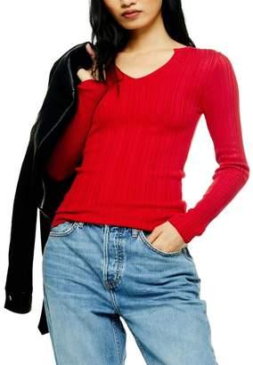 Topshop Split Neck Ribbed Sweater