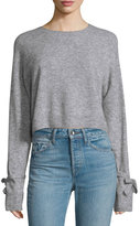 Helmut Lang Melange Tie-Cuff Wool-Blend Sweater, Heather Gray