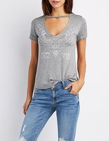 Charlotte Russe Free Spirit Graphic Cut-Out Tee