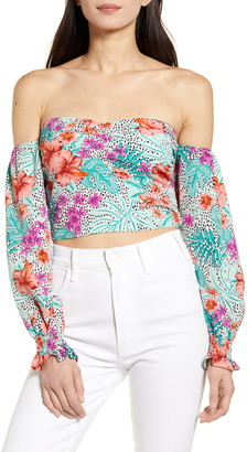 Lost + Wander Flower Power Off the Shoulder Top