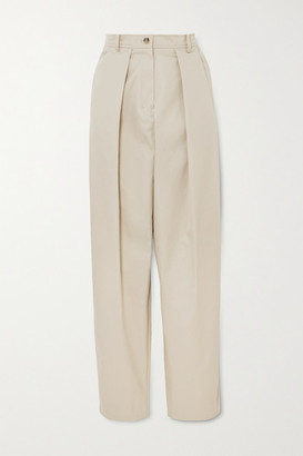 Magda Butrym Harwich Pleated Cotton-twill Tapered Pants - Beige