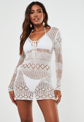 Missguided White Pointelle Lace Up Knitted Mini Dress