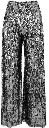 Paula Knorr Silver Flared Sequin Trousers