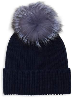 Amicale Cashmere Rib-Knit Fox Fur Beanie