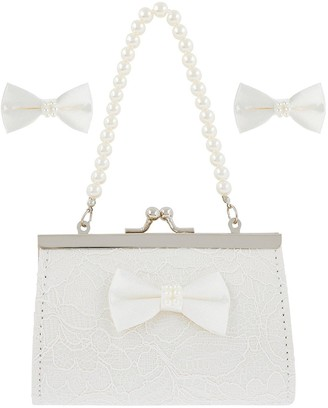 Monsoon Girls Lara Lace Bow Mini Bag and Clips Set - Ivory