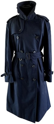 Burberry Navy Cotton Trench Coat for Women Vintage