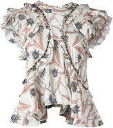 Isabel Marant ruffled floral print top - women - Cotton/Acrylic/Brass - 38