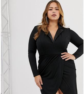 Club L London Plus Plus tuxedo dress-Black