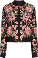 Needle & Thread Black Rose Embroidered Bomber Jacket