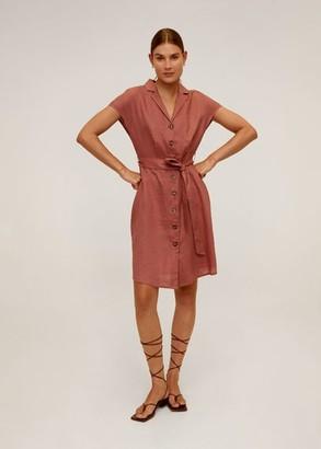 MANGO Belt linen dress pale pink - 8 - Women