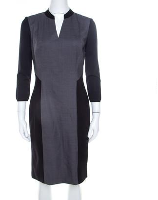 Elie Tahari Black and Grey Colorblock Stretch Wool Blend Citrine Dress M