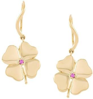 Aurelie Bidermann 18kt gold Clover sapphire earrings