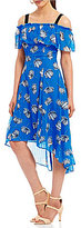 Jones New York Off-The-Shoulder Floral Print Hi-Low Hem Dress