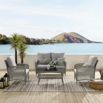 Bay Isle Home Creager 4 Piece Patio Set with Cushions Color: Beige